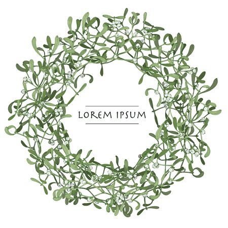 Vector isolated christmas wreath with mistletoe plant on white background. Circle frame image for greeting cards Foto de archivo
