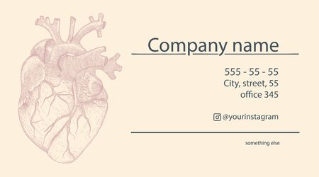 Vector business card for cardiologist with realistic heart . Vintage illustration with anatomy organ for promotion on yellow background