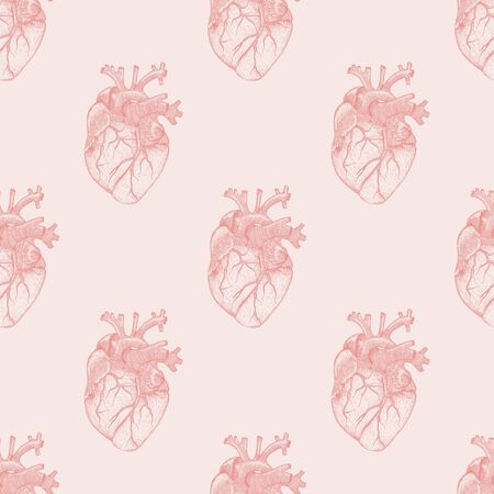 Seamless pattern with realistic heart . Anatomy organs illustration for textile or wallpaper with pink background