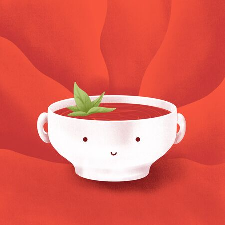 Tomato soup red illustration with texture. Kawaii food image for social media publications