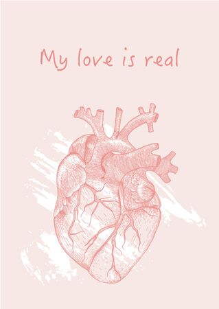 Vector outline illustration of anatomy heart and lily flowers with phrase My love is real for greeting card design