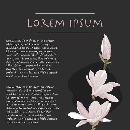 Beautiful floral black background with magnolia plant pastel color corner with brush stroke for wedding invitations Vectores