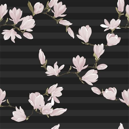 Vector floral seamless pattern of magnolia set. Floral pink images on a dark grey striped background. Textile design elements. Natural style texture Vectores