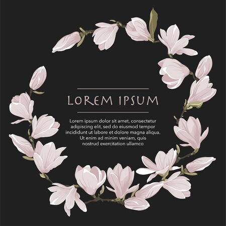 Vector floral wreath of magnolia set. Floral pink bouquet on a black background. Circle frame with spring flower