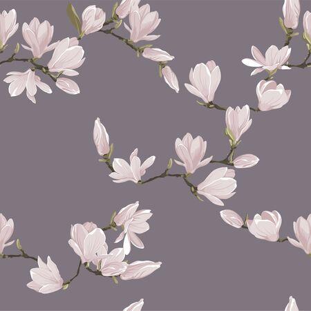 Vector floral seamless pattern of magnolia set. Floral pink images on a lavender background. Textile design elements.