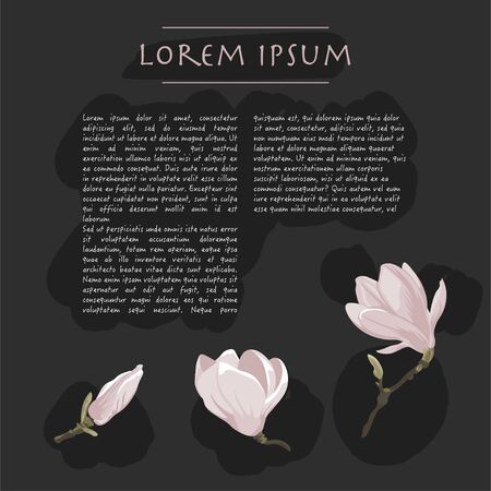 Floral dark grey background with magnolia flowers Vector square social media template with text