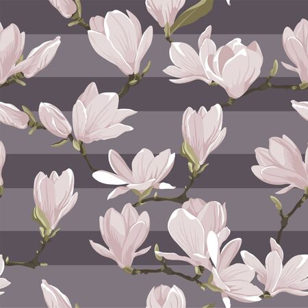 Vector floral seamless pattern of magnolia set. Floral pink images on a violet striped background. Textile design elements. Natural style texture