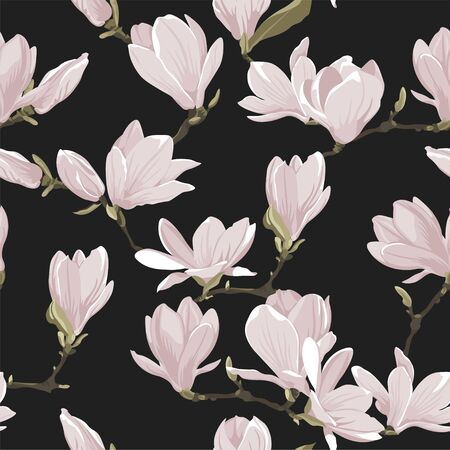 Vector floral seamless pattern of magnolia set. Floral pink images on a dark grey background. Textile design elements. Natural style texture Vectores