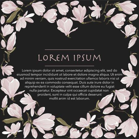 Vector floral frame of magnolia set. Floral pink bouquet on a black background. Heart shape frame with flowers