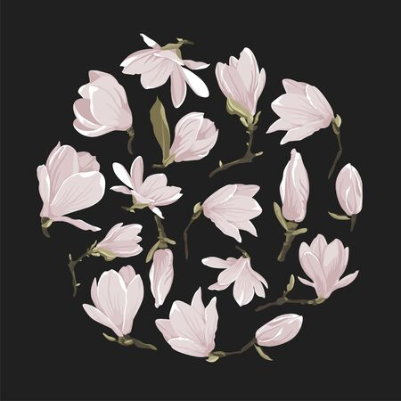 Vector flowers clip art of magnolia set. Floral pink image on a black background. Circle shape picture