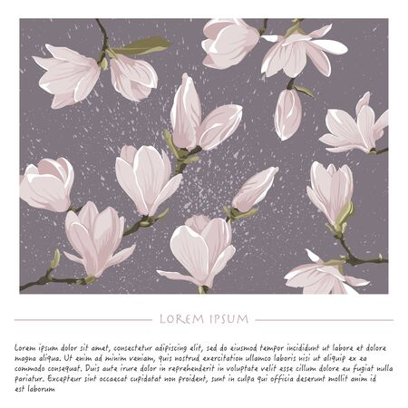 Floral background with magnolia flowers on a violet square with splash Vector nature social media template Vectores
