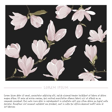 Floral background with magnolia flowers on a black square Vector nature social media template