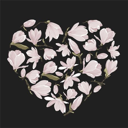 Vector floral heart of magnolia set. Floral pink bouquet on a dark background. Valentines greeting card