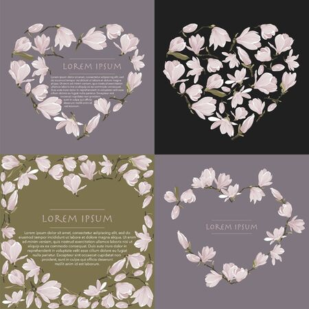 4 Vector floral wreath of magnolia set. Floral pink bouquet on grey lavender and green background. Heart shape frame with flower