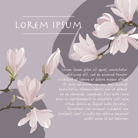 Floral background with magnolia tree plant pastel color corner on a violet background with brush stroke for greeting card