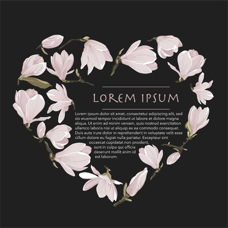 Vector floral wreath of magnolia set. Floral pink bouquet on a black background. Heart shape frame with flowers