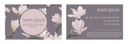 Vector business card template with magnolia flower on a violet background.