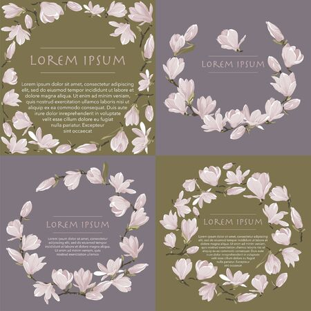 4 Vector floral wreath of magnolia set. Floral pink bouquet on a violet and green background. Circle shape frame with flowers Vectores