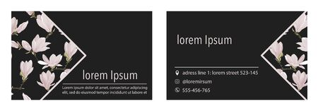 Vector business card template with magnolia  flower on triangle corner on a black background. Floral design for branding