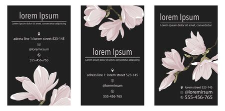 Vector business card template with magnolia flower on triangle corner on a black background. Vertical Floral design for branding
