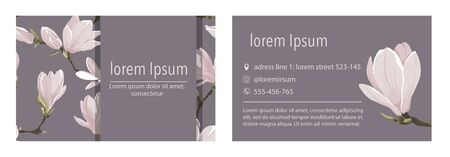 Vector business card template with magnolia flower on a lavender background.