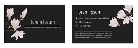 Vector business card minimalistic template with magnolia flower on a blacky background.