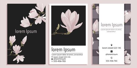 Vector business card template with magnolia  flower on a black and violet background. Vertical Floral design for branding Vectores