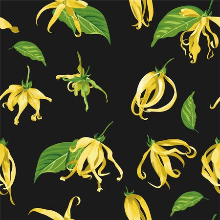 Vector seamless pattern with ylang ylang flowers on a black background. Floral Texture with wild yellow tropical flowers.