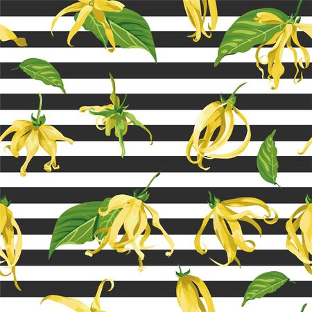 Floral seamless pattern with ylang ylang flowers. Vector texture with tropical yellow flowers on black and white striped background