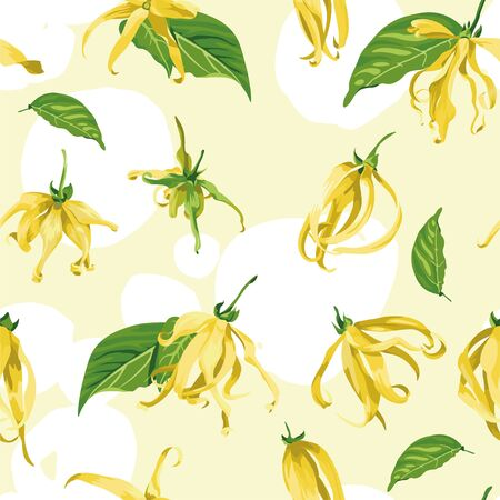 Vector seamless pattern with ylang ylang on a yellow background with white brush strokes. Floral Texture with wild tropical flower