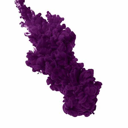 Éclaboussure de peinture violette. Abstrait. Peindre à l'eau