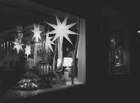store window: Christmas lights in a store window