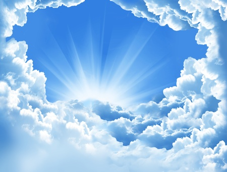 Beautiful white clouds and sun Stock Photo