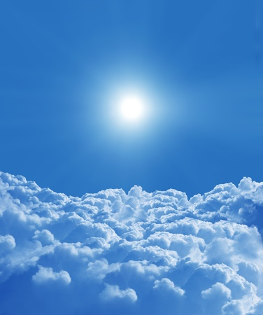 blue sky with sun and beautiful clouds  photo