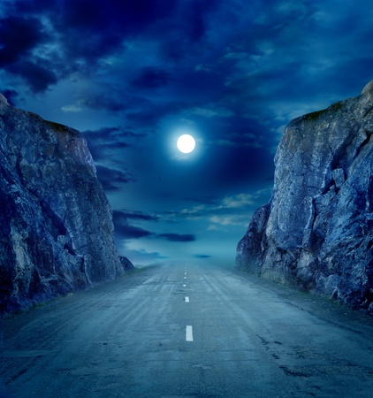 mystical forest: moon road Stock Photo