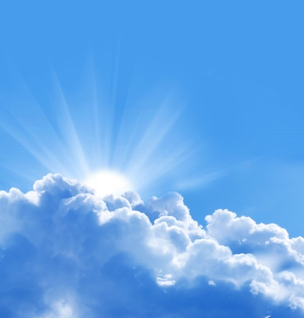jesus in heaven: blue sky with sun and beautiful clouds