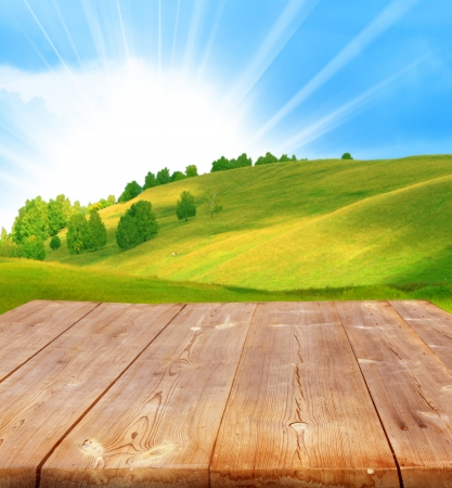 summer background with with wooden planks  Stock Photo