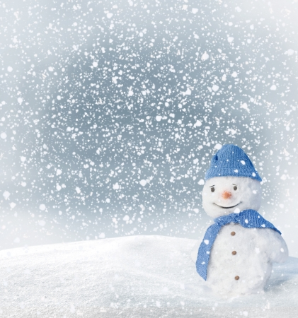 fresh snow: Christmas Greeting Card with snowman