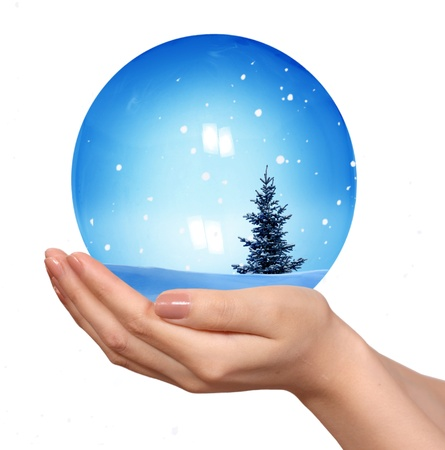 Hand hold snow globe  photo