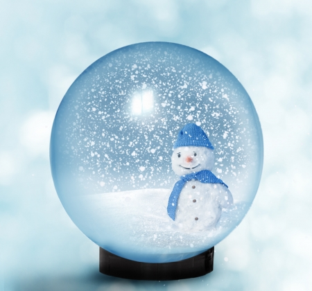 Snow dome with snowman