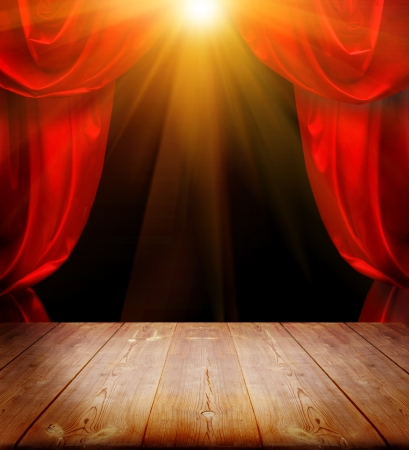 theater curtains and wood floor  photo