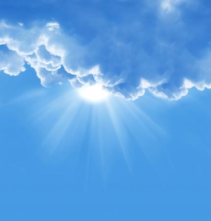 heaven: cielo azul con nubes sol y la hermosa