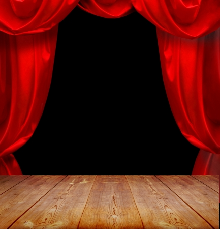 home theatre: theater curtains and wood floor
