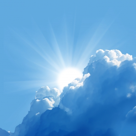 cloudscapes: blue sky with sun and beautiful clouds