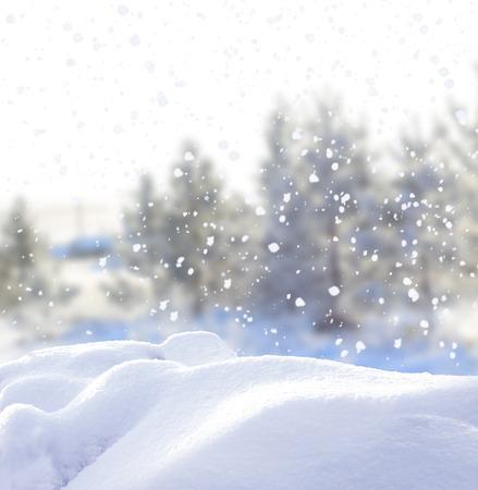 cold background: Inverno sfondo Natale con la neve Archivio Fotografico