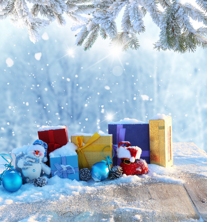 Christmas background with gifts photo