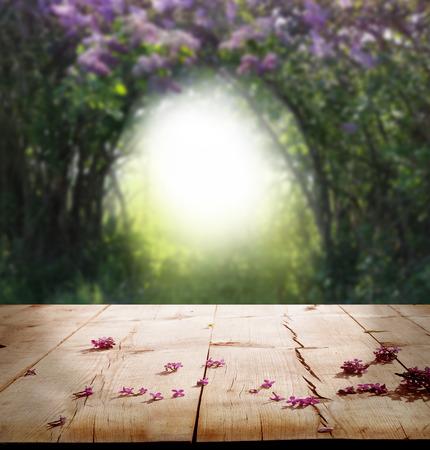 나무 테이블과 봄 배경
