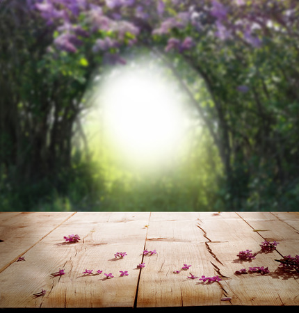 spring background with wooden table photo