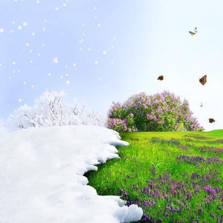 Cambio di stagione dall'inverno alla primavera Archivio Fotografico