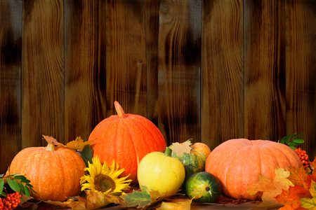 Autumn background with maple leaves and pumpkins on wooden table Stock Photo